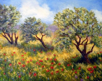 Olive Orchard  oil painting 18x24 wall art
