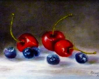 Still Life Cherries and Blueberries 5x7 oil painting