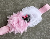 Pink and white chiffon rosette Minnie nylon stretch headband