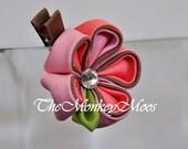 Flower Hair Clip for Girls - Peach Mocha Medium Skylit by TheMonkeyMoos