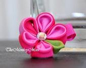Flower Fabric Hairclip for Girls- PinkPinklebery Medium Moonlit- TheMonkeyMoos