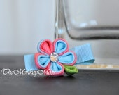 Fabric Flower Hairclip -PassionfruitMint - Mini Moonlit Flower Hair Pin- Kanzashi