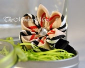 Flower Hair Clip For Girls - Ivory/Black/Red  Plaid Moonlit - Kanzashi