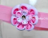 Flower Fabric Headband - Pink Marshmallow Dual Petal LGMoonLit- Kanzashi
