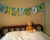 Custom Quilted Fabric Banner (7 letters)
