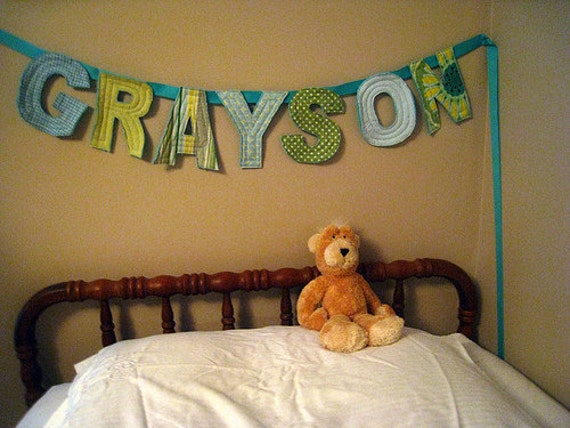 Custom 7 Letter Quilted Fabric Banner