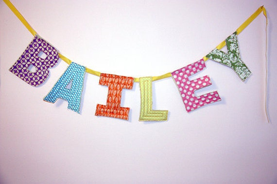 Custom Quilted Fabric Banner (15 letters)