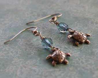 Turtle Charm Earrings - Silver and Blue Dangles