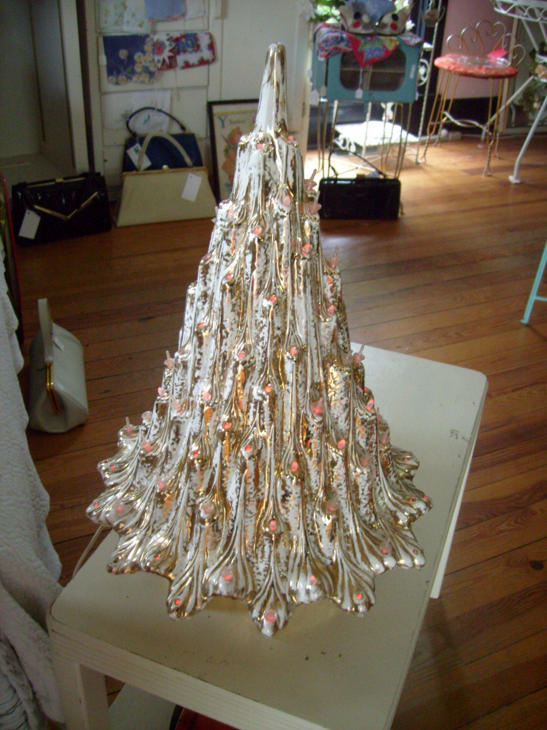 Vintage White And Gold Ceramic Christmas Tree 19 Inch Tall