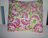 Pillow Cover Floral Paisley 16 x 16 Pink Green Gold on White Background