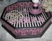 Decorative Tray  French Chic  Paris Apt. Black, Pink & Cream  Handpainted and Decoupaged by MaBelleChicBoutique