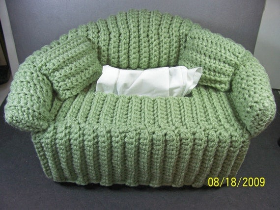 Green Sofa Tissue Box Cover Handmade Crochet By Inkansascity
