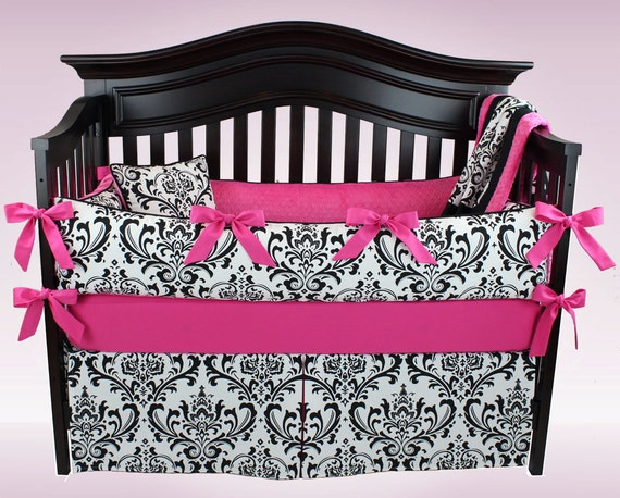 CLEARANCE! EMILY 5 piece bedding set - Black and White Damask with Hot Pink - Baby Girl Nursery Bedding