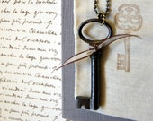 Vintage Skeleton Key Necklace:Forget-Me-Not Necklace, Souvenir, French, OOAK, keepsake pouch and gift box included
