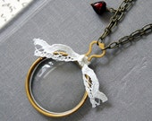 Antique Monocle Optical Lens Necklace: Only the heart sees, keepsake pouch and gift box included