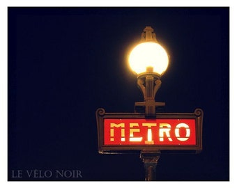 Paris, France, Metro Pont Neuf at Night, Unmatted 8x10 Fine Art Print