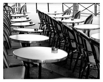 Cafe Chairs and Tables number03, French Sidewalk Cafe, Paris, France, Black and White, Unmatted 8x10 Print