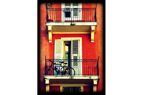 Bicycles on the balcony, South of France, 5x7 MATTED fine art photograph (fits standard 8x10 frame)