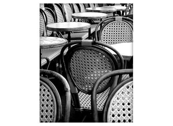 Cafe Chairs and Tables number01, French Sidewalk Cafe, Paris, France, Black and White, Unmatted 8x10 Print