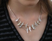 Vintage Sterling Silver White or Light Blue Bird Shell Necklace 15 inches