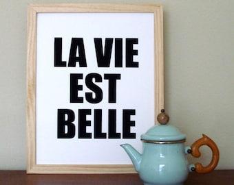 SALE SALE SALE la belle est vie screenprinted poster - black