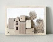 one of a kind wood sculpture house art miniature houses