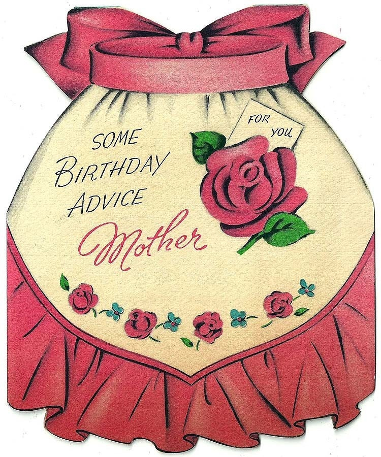 Vintage 1950 Happy Birthday Apron Greeting Card