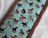 Ready to Ship // Rocking Horses on Chocolate Brown Hand Dyed Burp Cloth