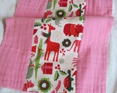 Ready to Ship // Bubble Gum Pink Hand Dyed Burp Cloth with Alexander Henry 2-D Yuletide Fabric