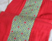 Ready to Ship // Bright Red Hand Dyed Burp Cloth with Kaufman HexiDot Fabric