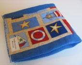 Bright Blue Hand Dyed Mini Burp Cloth with Debbie Mumm Safe Harbor Fabric