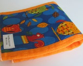 Animal Party Too Owls on Orange Hand Dyed Burp Cloth