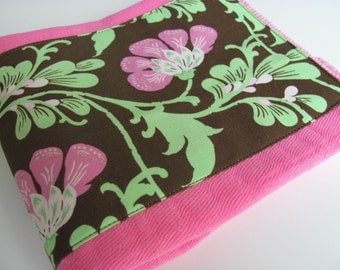Ready to Ship // Pink Hand Dyed Mini Burp Cloth with Amy Butler Daisy Chain Fabric