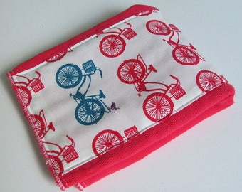 Ready to Ship // Red Hand Dyed Mini Burp Cloth with Organic Cotton Birch Fabrics Avalon Bicycles