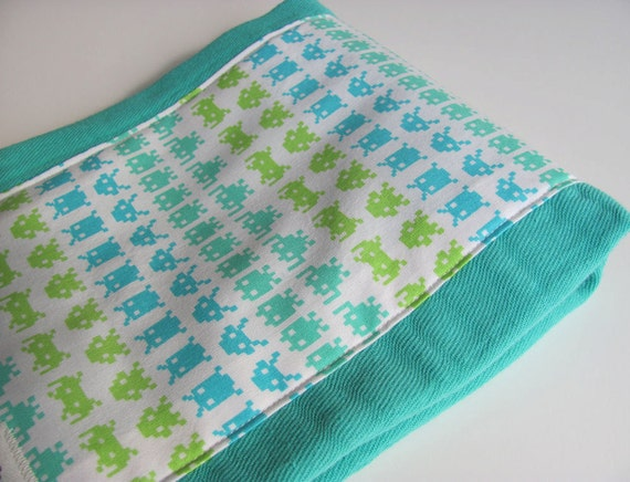 Green Hand Dyed Burp Cloth with Alien Space Invaders Fabric