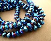 100pcs colorized-blue color cz crystal roundel-6x4mm