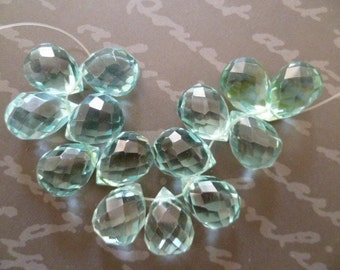 Briolette, Faceted teardrop, Aquamarine color glass quartz teardrop in - 8mm x12mm- 23pcs