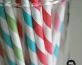 Striped Paper Straws -- Set of 25 (ONE COLOR)