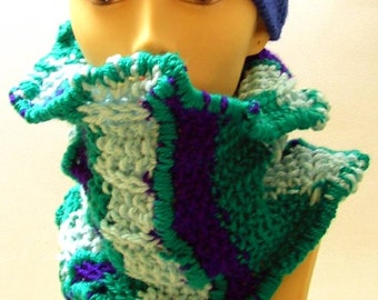 SALE  Ripple Rope Turquoise Neckwarmer