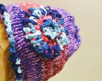 SALE  Purple Red Bagged Hat with Ragged Flower and Puzzle Button