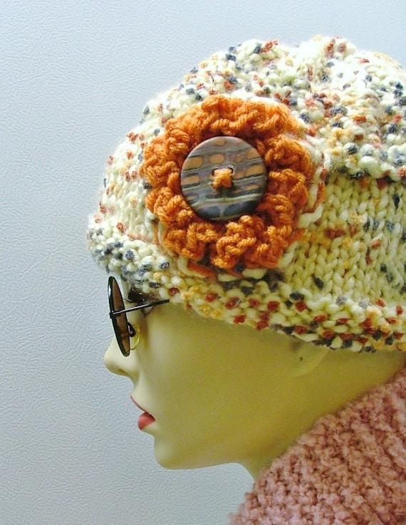 Pop Corn Cream Hat with Button Flower