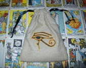 Eye of Horus Eye of Ra Embroidered Drawstring Tarot or Rune Bag 5X7