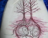 Love Grows  6 X 9 Embroidered Drawstring Tarot Rune Crystal Bag
