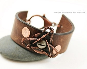 Unisex Leather and Copper Wire Wrapped Cuff Bracelet
