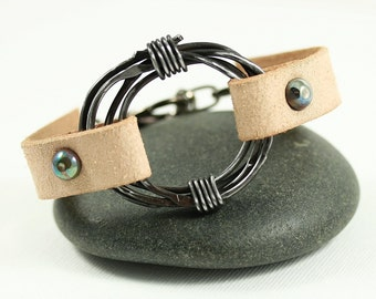 Leather Cuff Bracelet - Steel Circle Remind Yourself: You Have the Strength of Steel