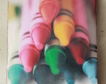 Encaustic Photograph Art,Ready To Ship, Wall Art, Home Decore Crayola Crayon Macro Photograph-Childrens Playroom Art,  8inches by 10inches