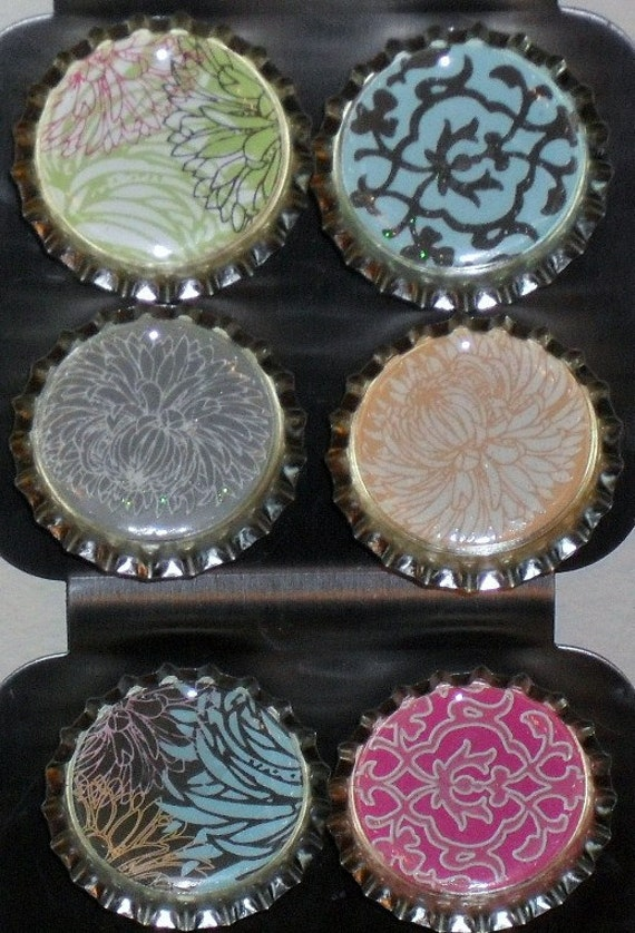 Abstract Bottlecap Magnets - Set of 6