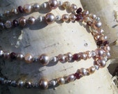 FINAL MARKDOWN 50%off -- Romantic Necklace of Genuine Rose Pearls and Real Rubies with Sterling Silver (was 95) -- FREE Shipping