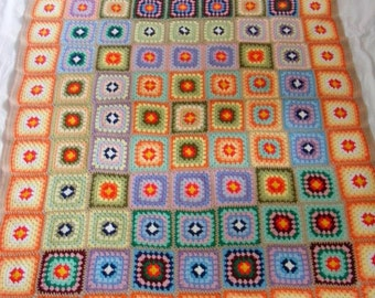 Soft afghan multicolor crocheted blanket