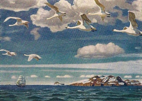 Blue depths. A.Rylov. Vintage postcard.